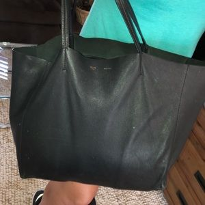 Celine Bags - Céline Navy Horizontal Cabas -dust bag included